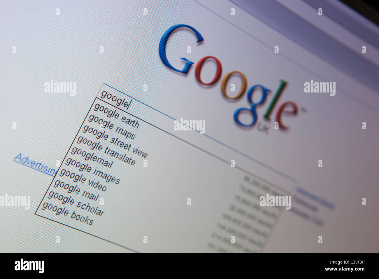 Illustrative image of the Google search engine website. - Stock Image