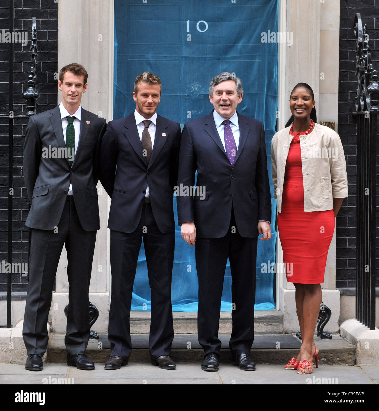 David Beckham, Andy Murray and Denise Lewis  visiting Prime Minister Gordon Brown at No.10 Downing Street to mark Stock Photo