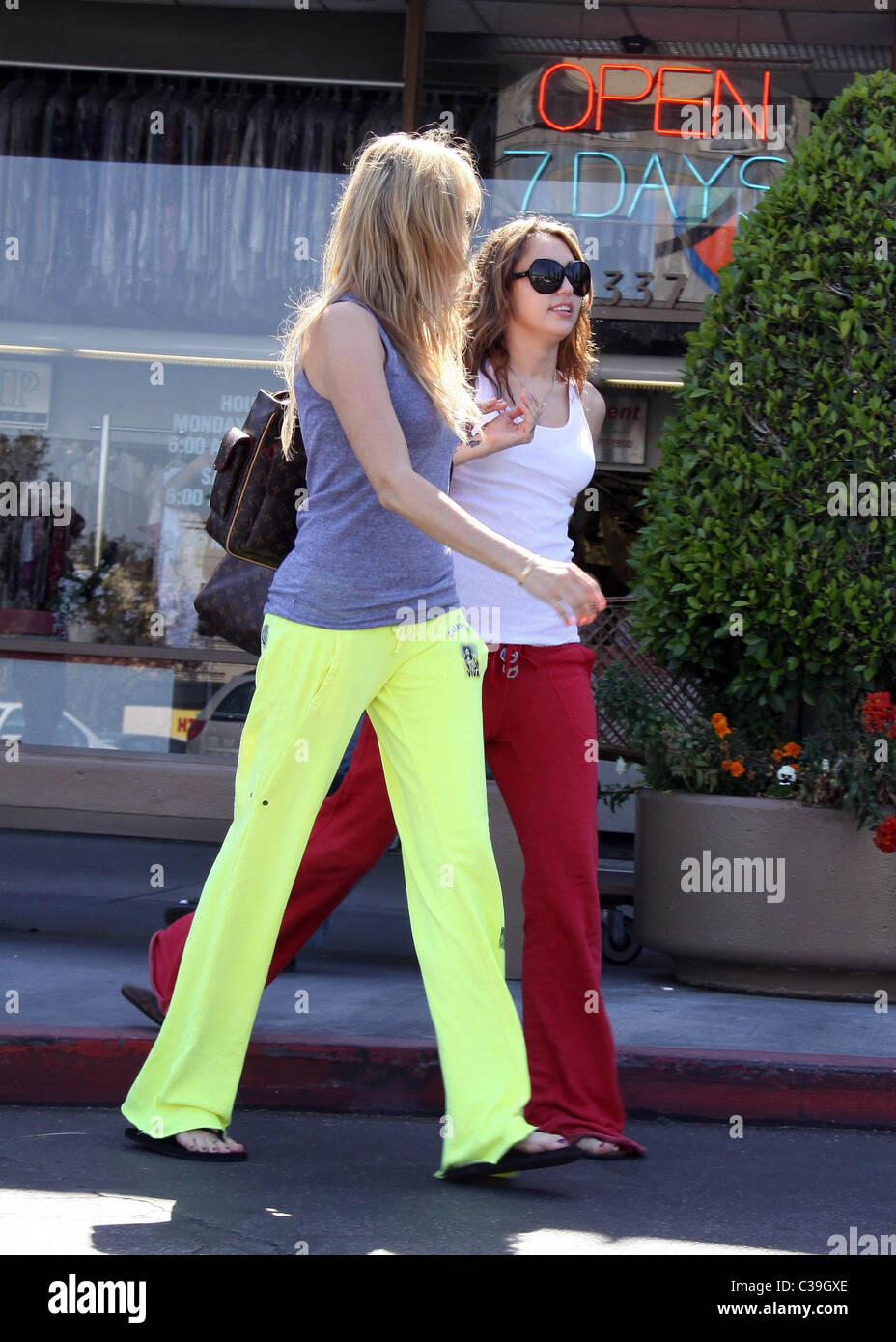 Miley Cyrus and Leticia Cyrus seen leaving \'Nail Garden\' salon after ...