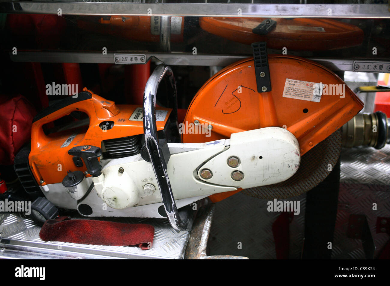 Fire electric saw - Stock Image