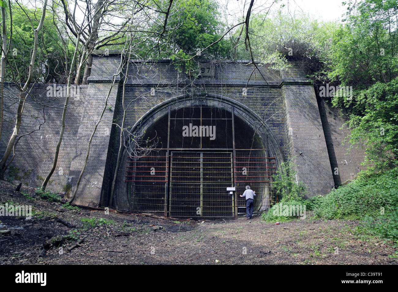 The south portal of the closed Charwelton Tunnel on the disused former Great Central Railway line near Daventry, - Stock Image