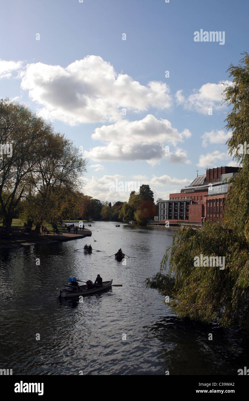 View of Royal Shakespeare Company Theatre over the River Avon in Stratford-upon-Avon,  Warwickshire, England, UK - Stock Image