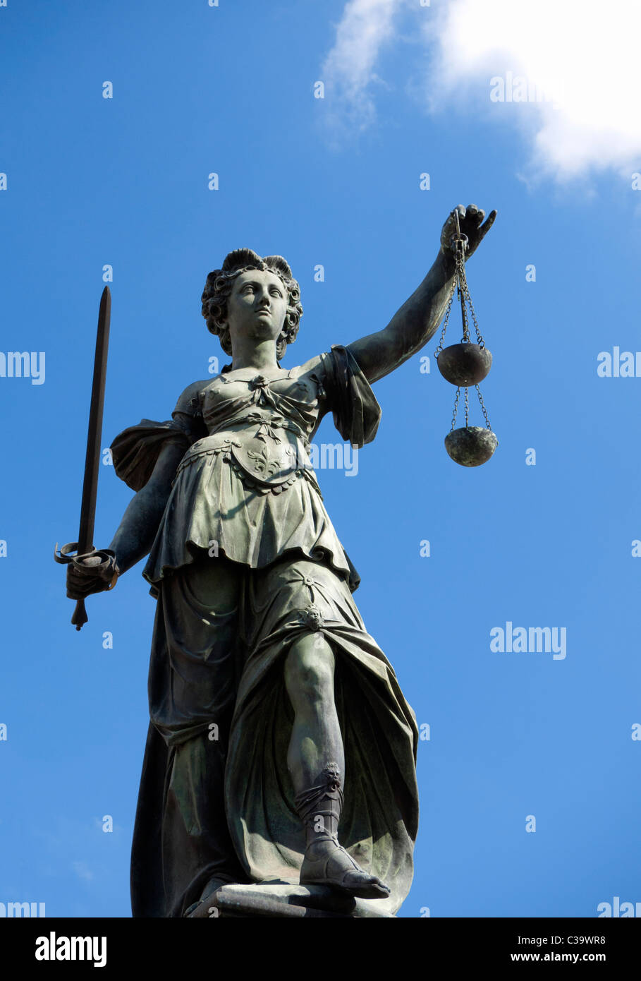 Justitia fountain statue detail at Romer Square in Frankfurt am Main old town Germany - Stock Image