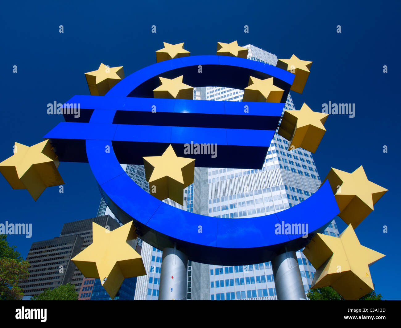The Euro sign outside the European Central Bank (ECB) in Frankfurt am Main Hessen Germany - Stock Image