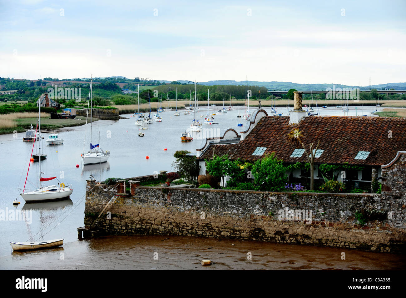 A view of some sailing boats at the River Exe - Topsham, Devon, UK - Stock Image