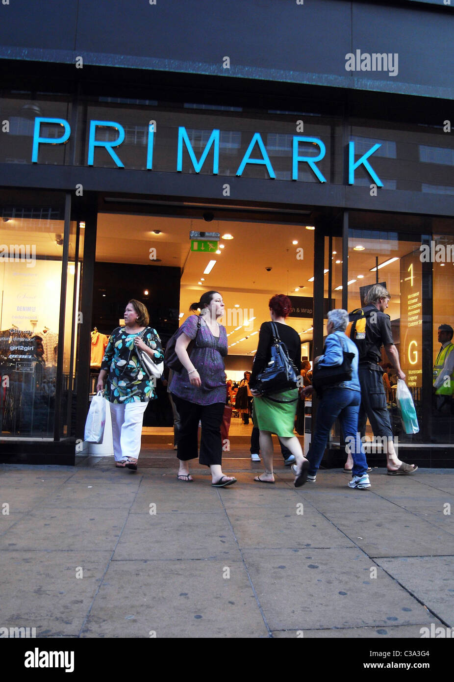 Exterior of the flagship Primark store on Oxford Street, am Associated British Foods brand. - Stock Image