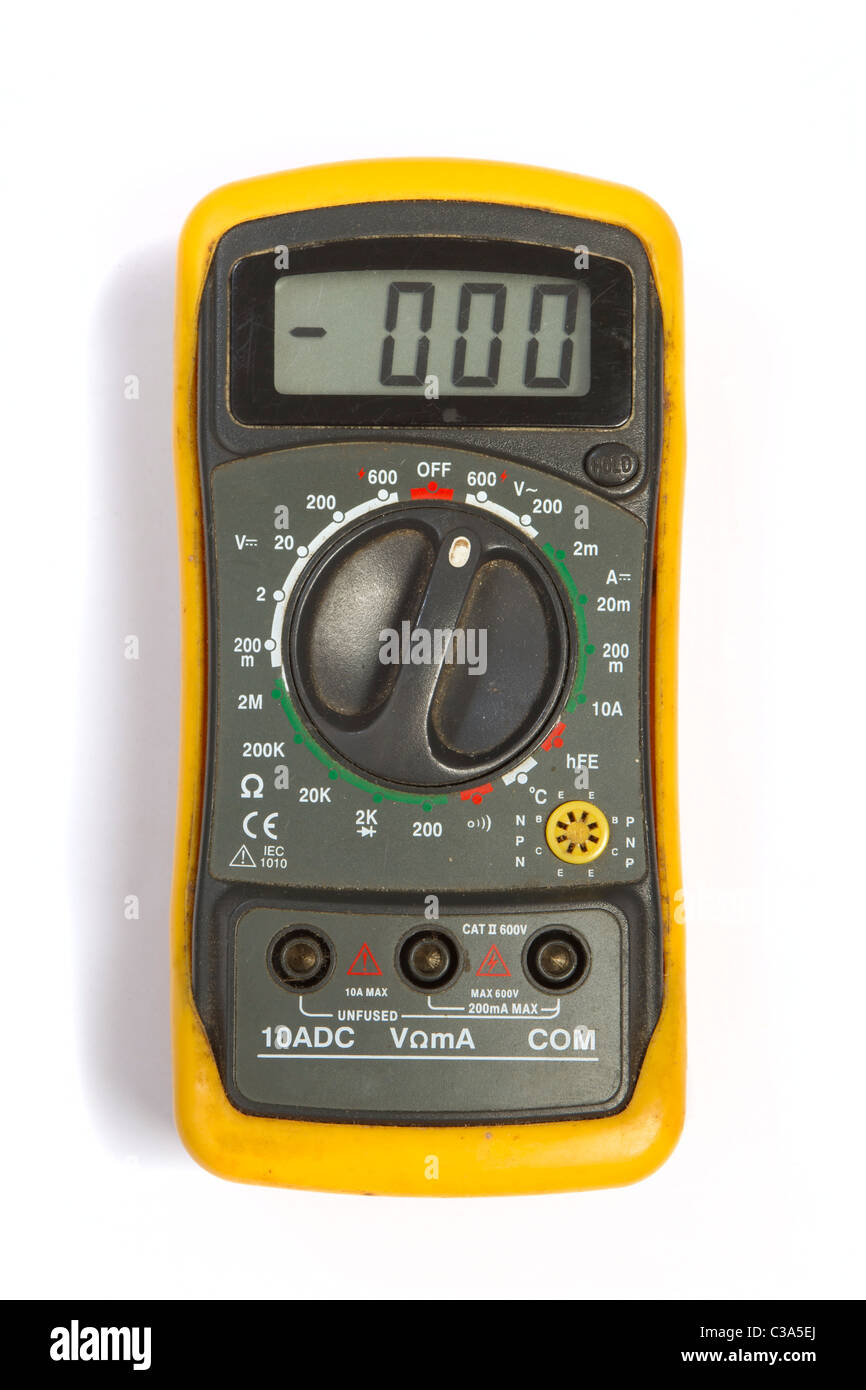Used digital multimeter with yellow protection Stock Photo