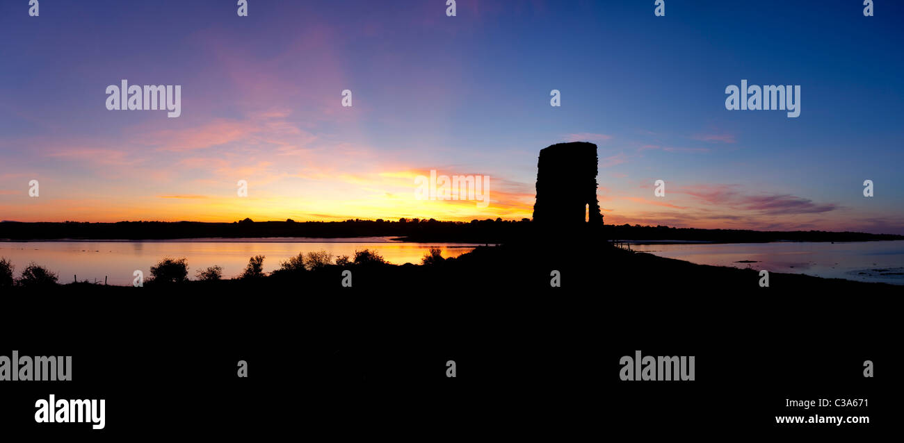 Sunset over Castle Connor and the River Moy, County Mayo, Ireland. - Stock Image