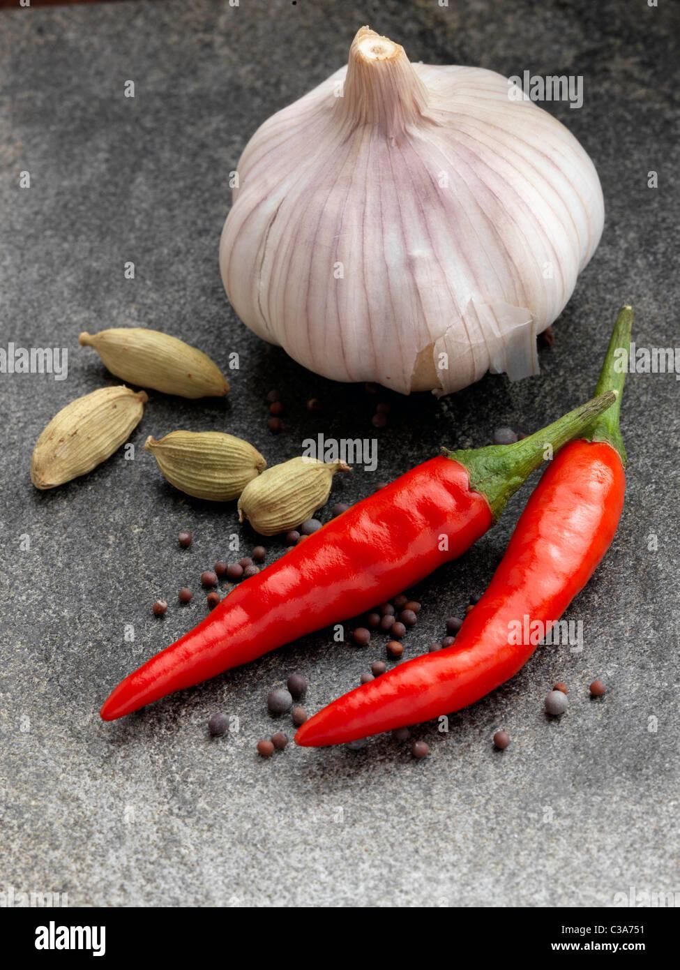 Garlic chillies cardamoms onion seeds - Stock Image