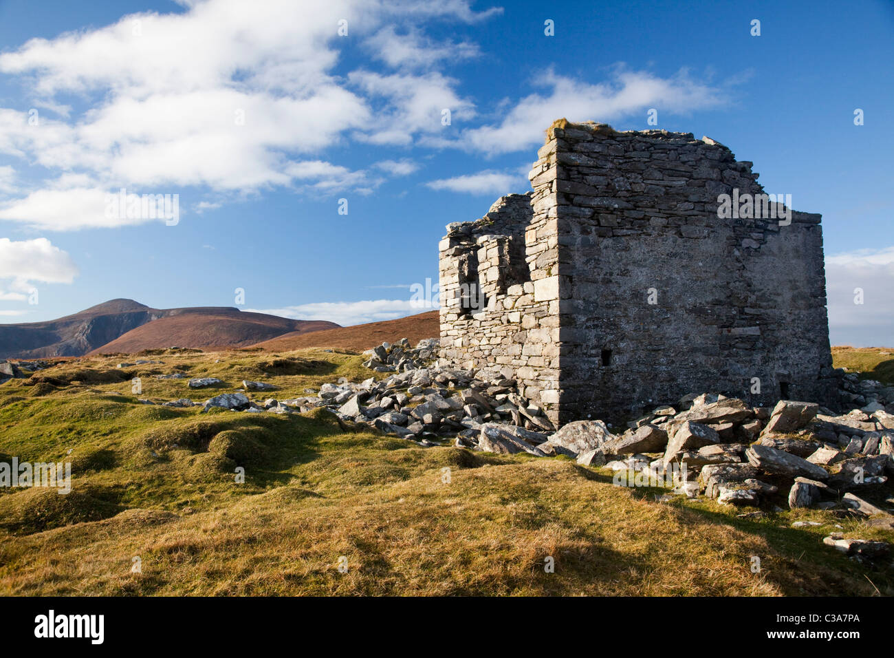 Ruined Napoleonic signal tower at the summit of point 194m, Achill Island, County Mayo, Ireland. - Stock Image