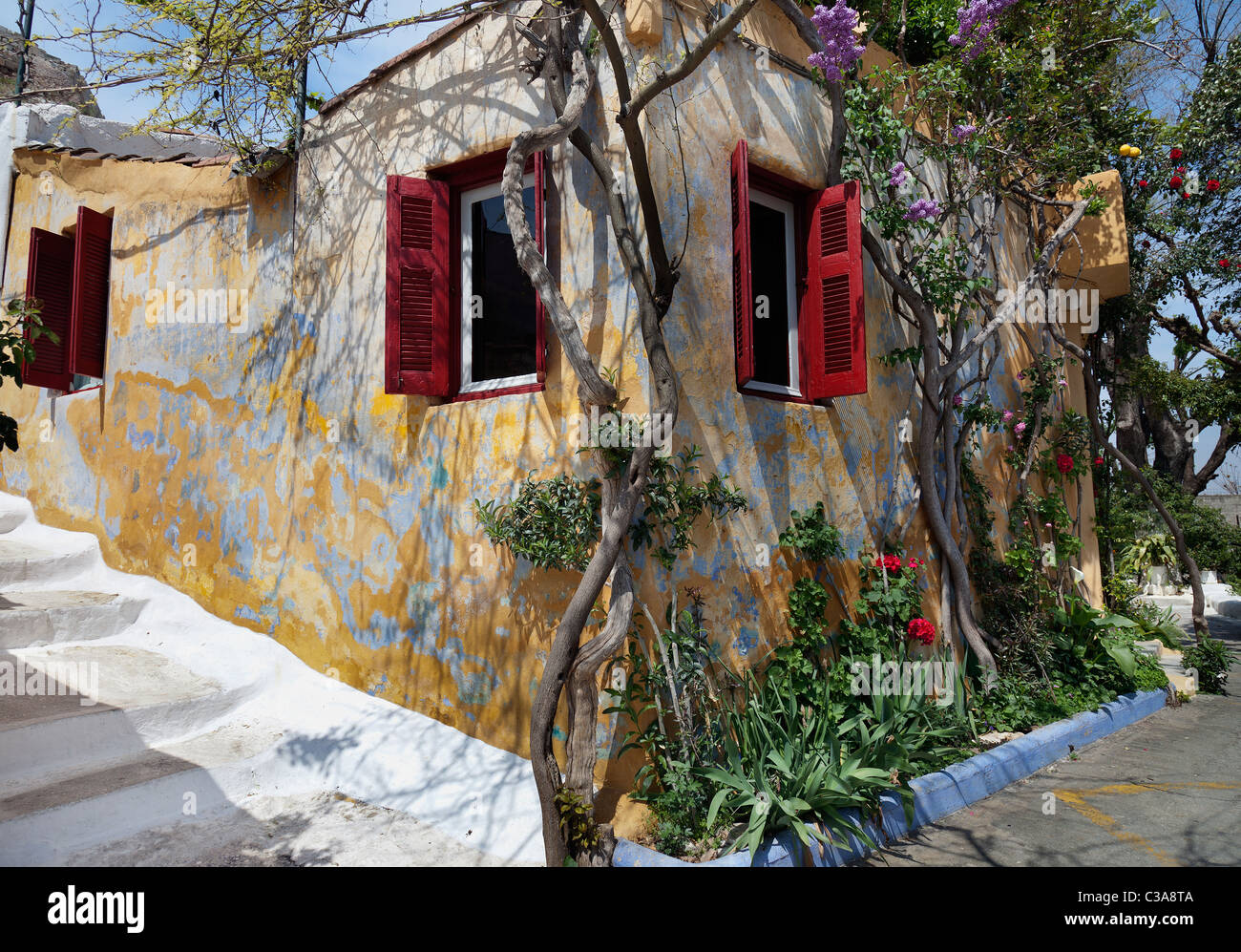 Plaka neighborhood of Athens - Small house. The neighborhood of Anafiotika, built by settlers from the Aegean island Stock Photo