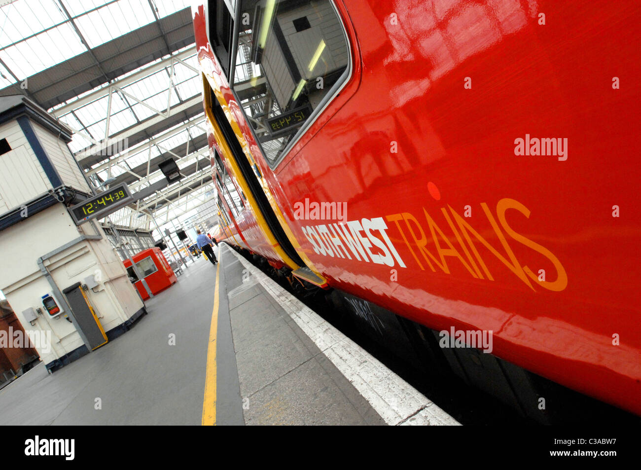 Southwest Trains at Waterloo Station. - Stock Image