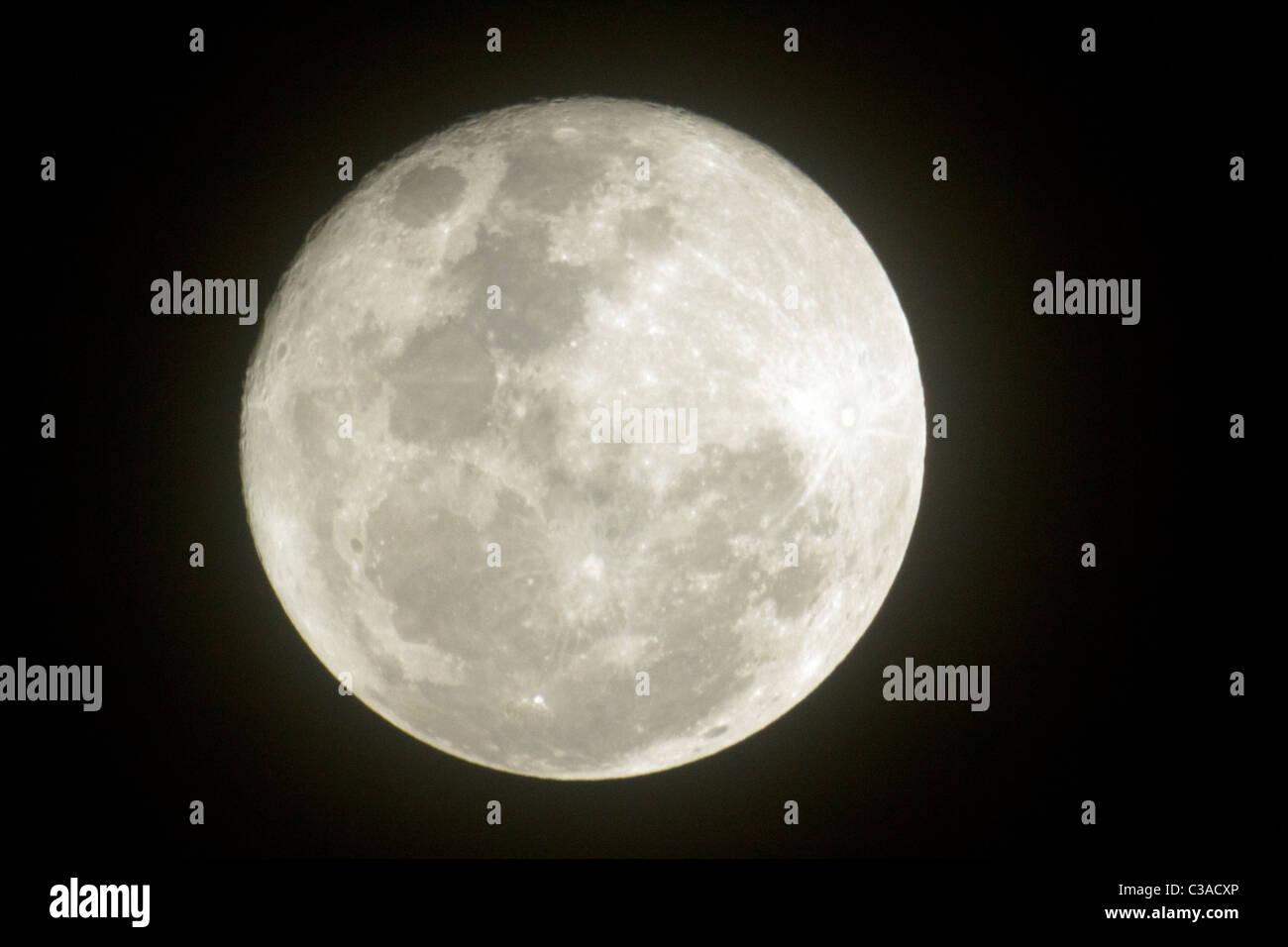 Full Moon from Trikora Beach in Tg Pinang, Indones Stock Photo