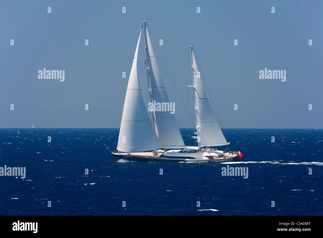 Sailboat sail in Mediterranean - Stock Image
