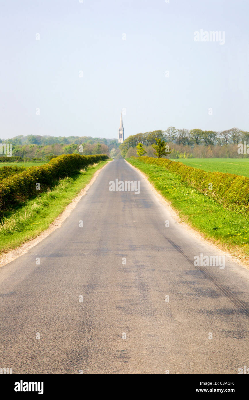 Road and South Dalton Church East Riding of Yorkshire England - Stock Image
