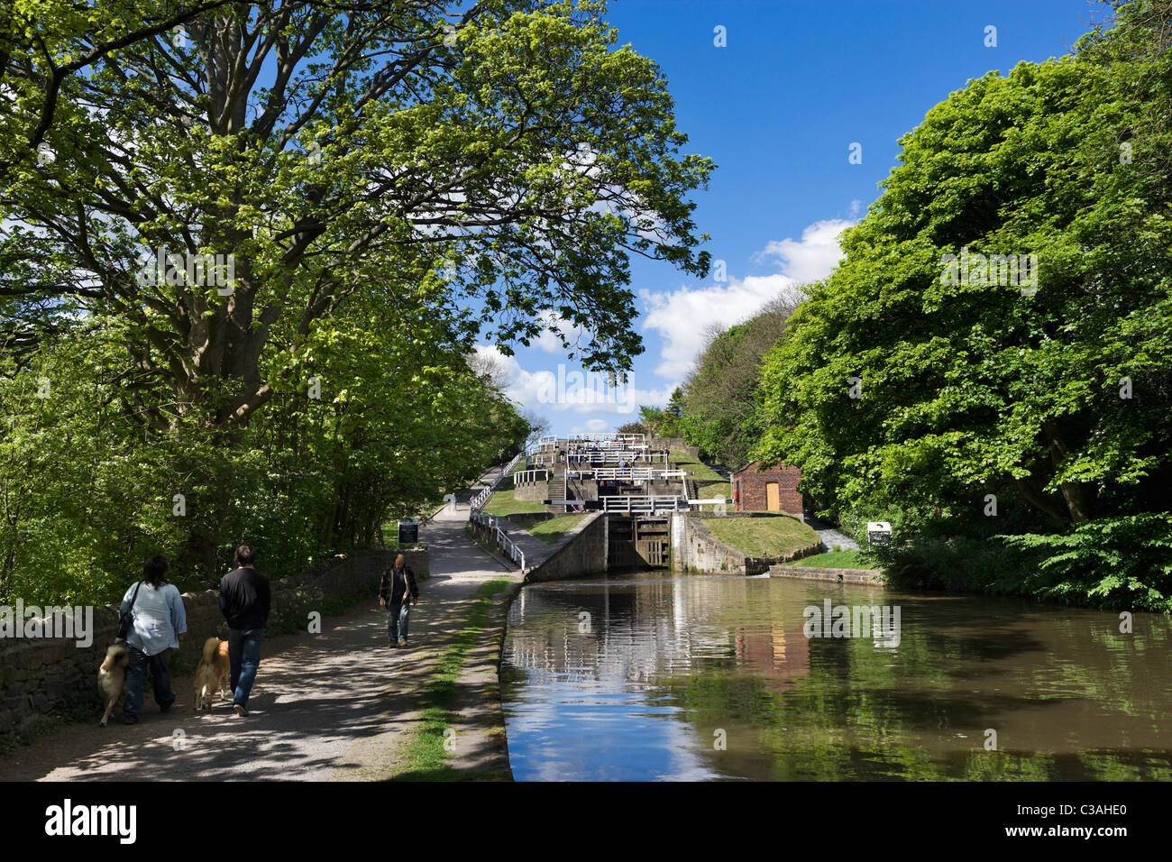 Five Rise Locks on the Leeds and Liverpool Canal, Bingley, West Yorkshire, UK - Stock Image
