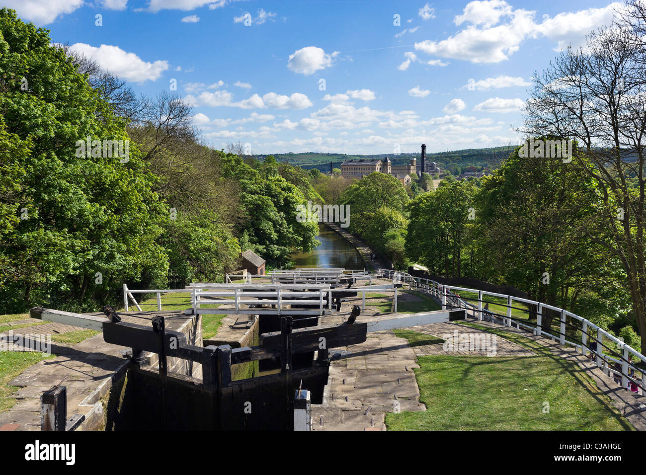 View over the Leeds and Liverpool Canal from the top of Five Rise Locks, Bingley, West Yorkshire, UK - Stock Image