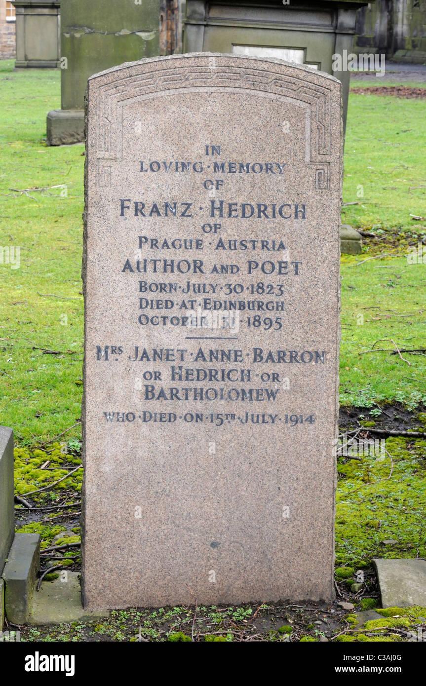 The gravestone of the Author and Poet Franz Hedrich (1823-1895) in Greyfriars Kirkyard, EdinburghStock Photo