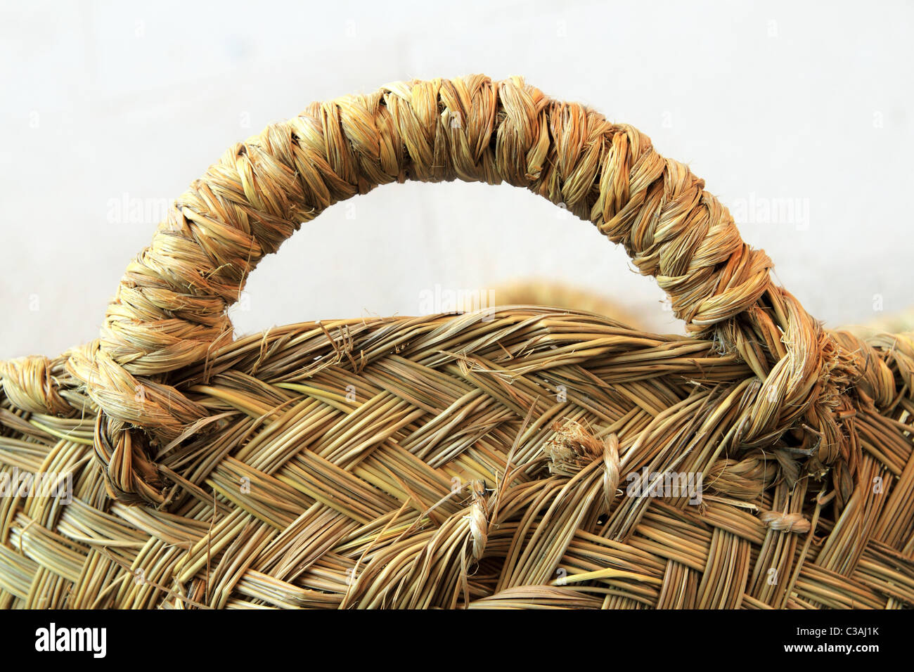 esparto grass handcraft basket handle texture traditional Spain crafts - Stock Image