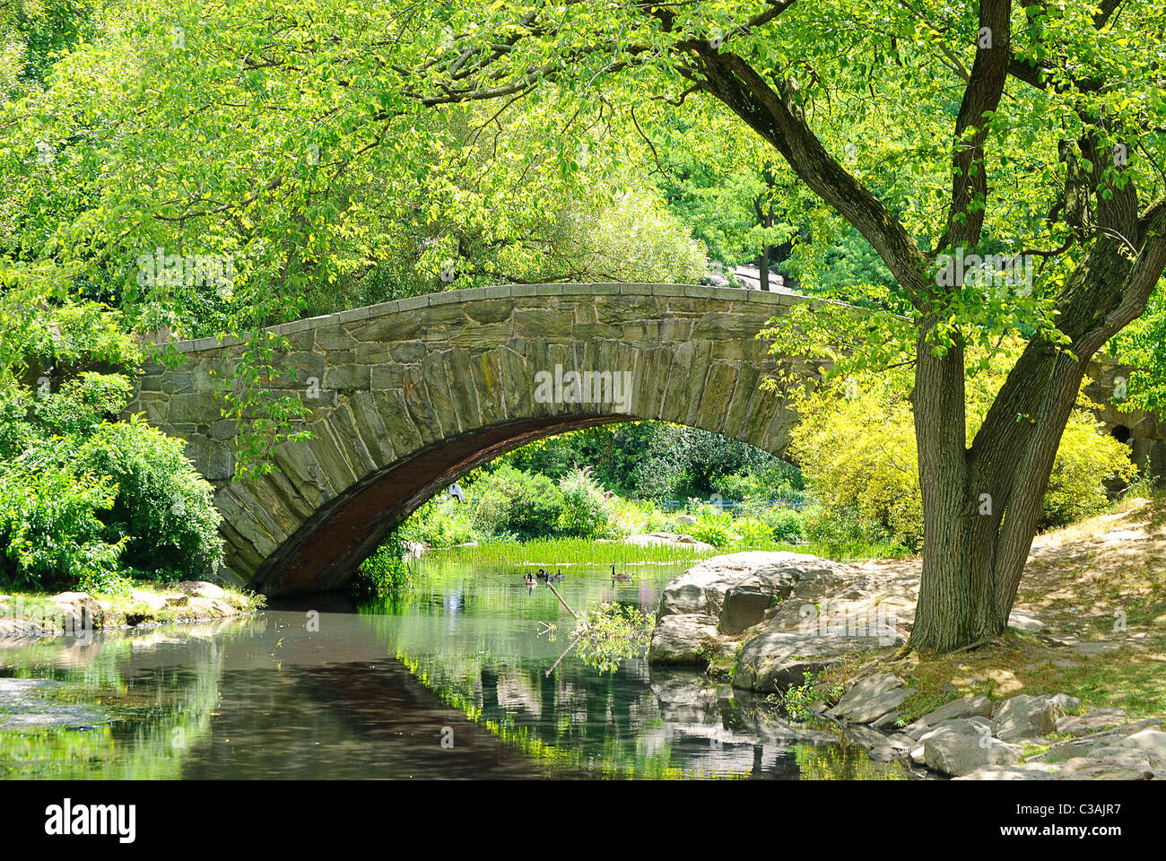 Gapstow Bridge over The Pond in Central Park, New York City. Stock Photo