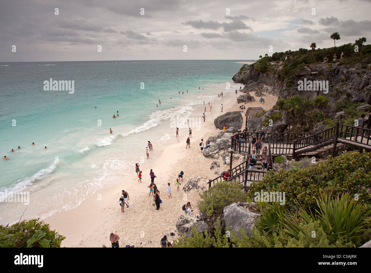 Tulum: Maya Ruins: Beach Stock Photo