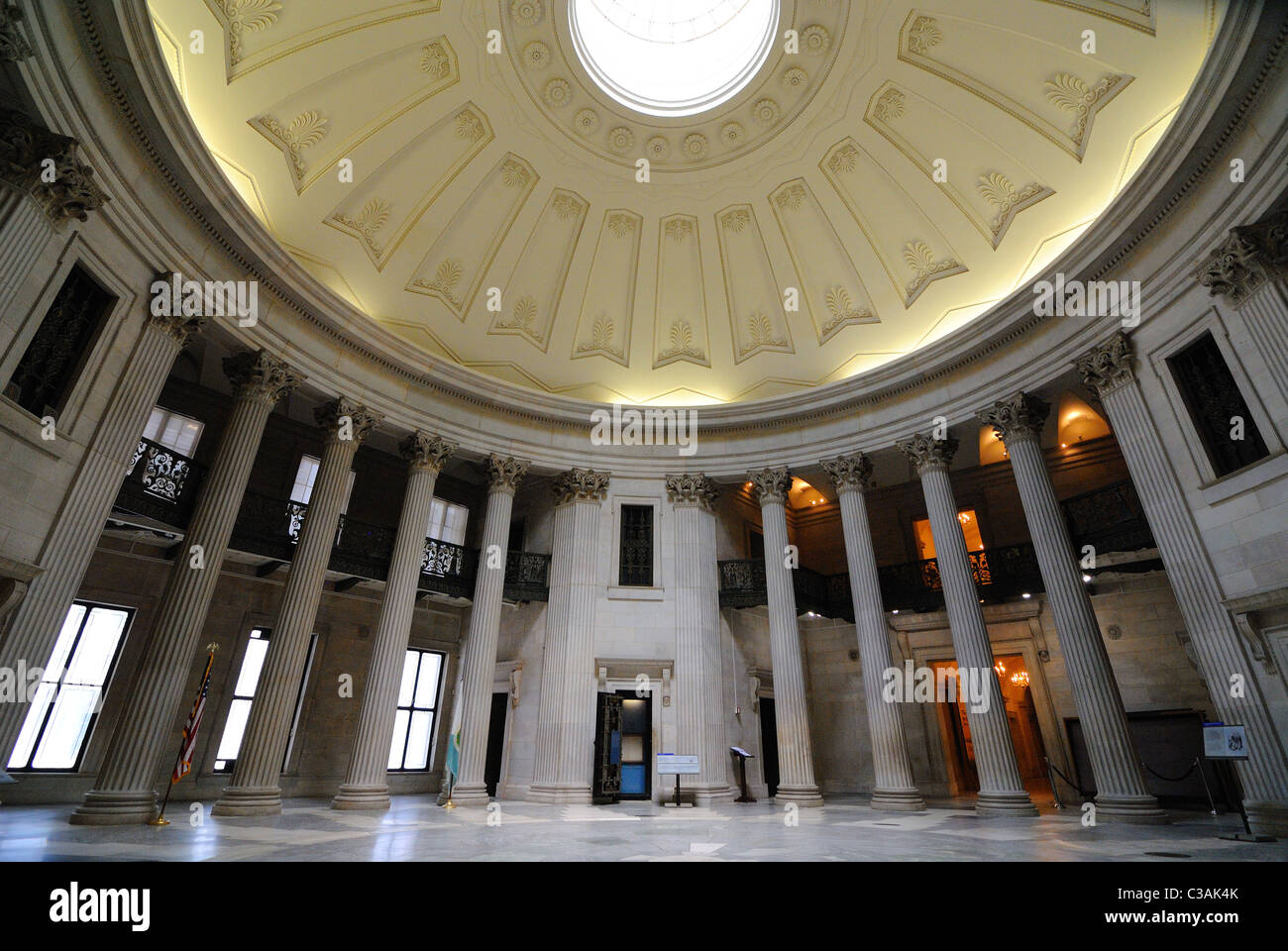 Inside the domed Federal Hall in New York City, site of the first capitol of the United States and later a customs - Stock Image