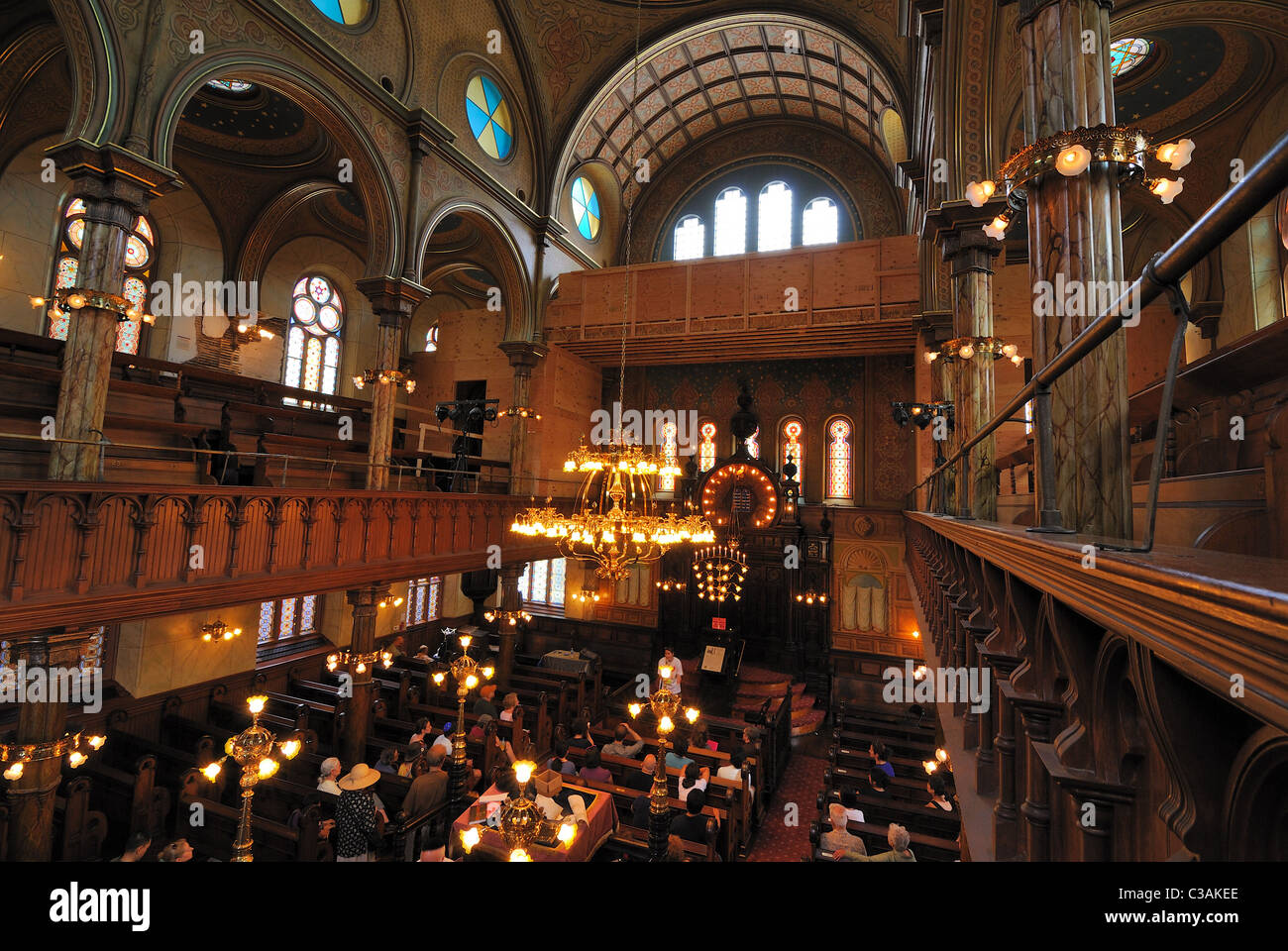 Inside Eldridge Street Synagogue, the fist Jewish Synagogue created by Eastern Europeans in the United States. - Stock Image