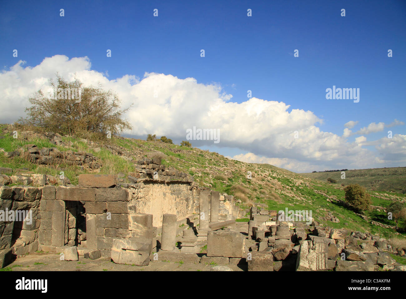 Deir Aziz ancient Synagogue in the Golan Heights - Stock Image