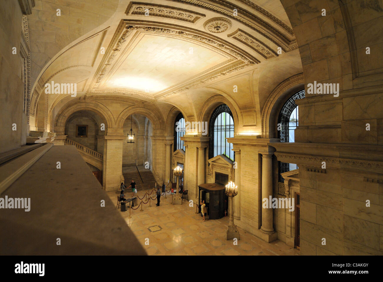Inside the entrance hall of New York Public Library Main Branch Building - Stock Image