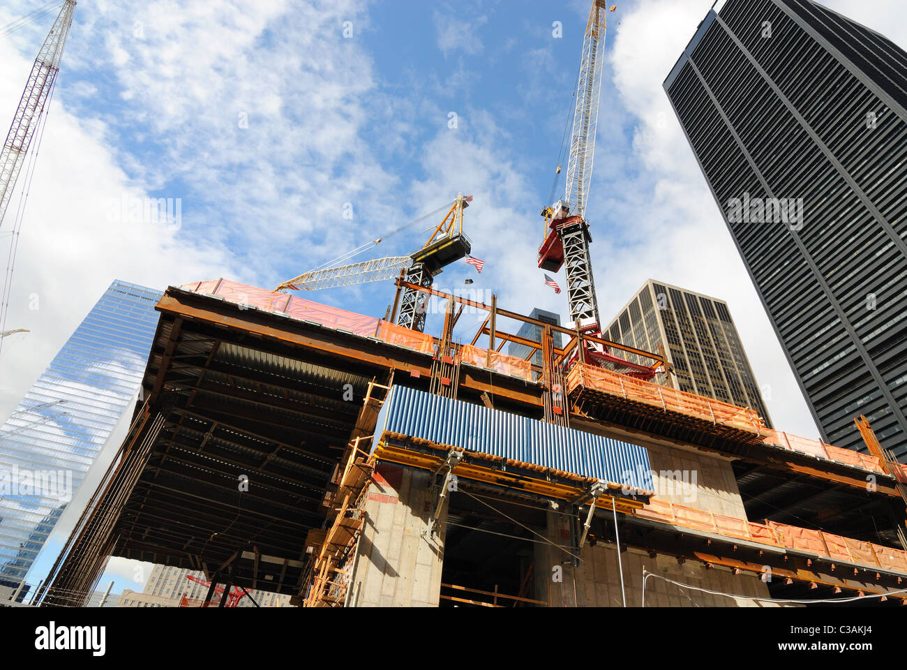 Ongoing construction at the world trade center site. - Stock Image
