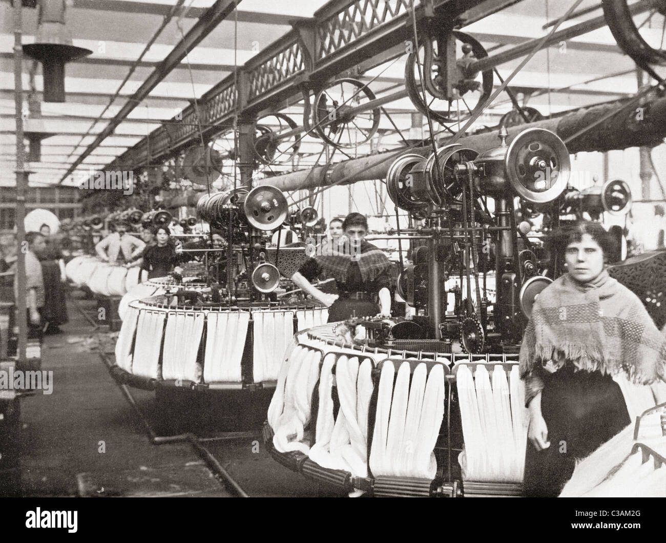Smith's Woolcombing Works, Bradford, West Yorkshire, England. Workers in the late19th century. - Stock Image