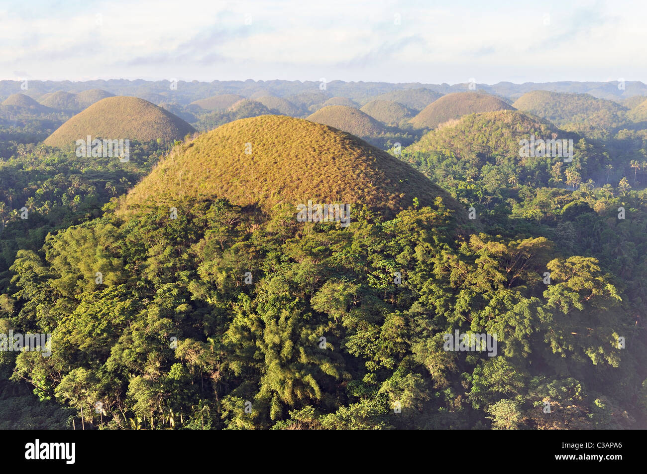 The beautiful chocolate hills at dawn, Bohol Island, Philippines - Stock Image