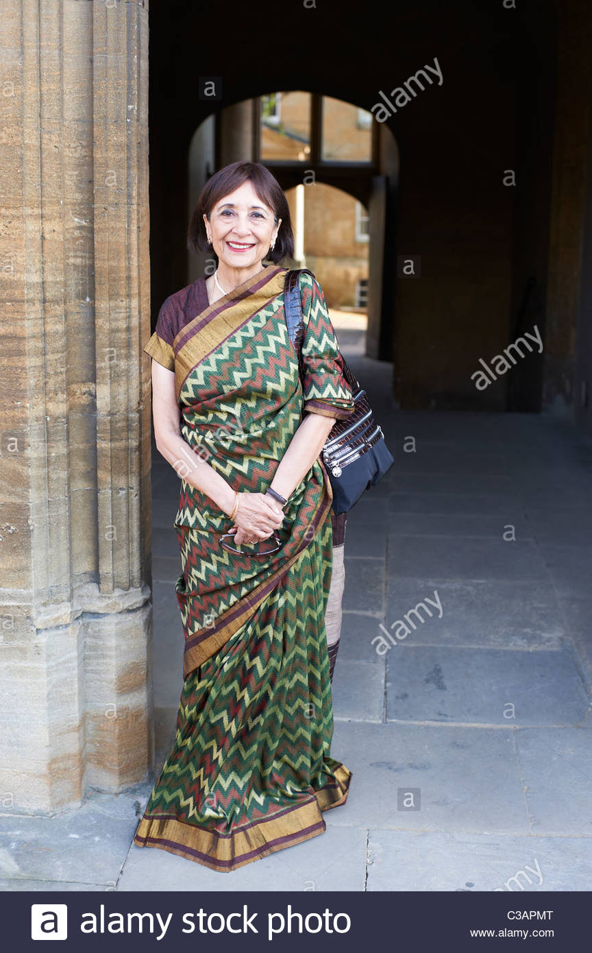 Madhur Jaffrey,film star,writer on Indian cooking,TV Presenter at The Oxford Literary Festival 2011 in Christchurch, - Stock Image