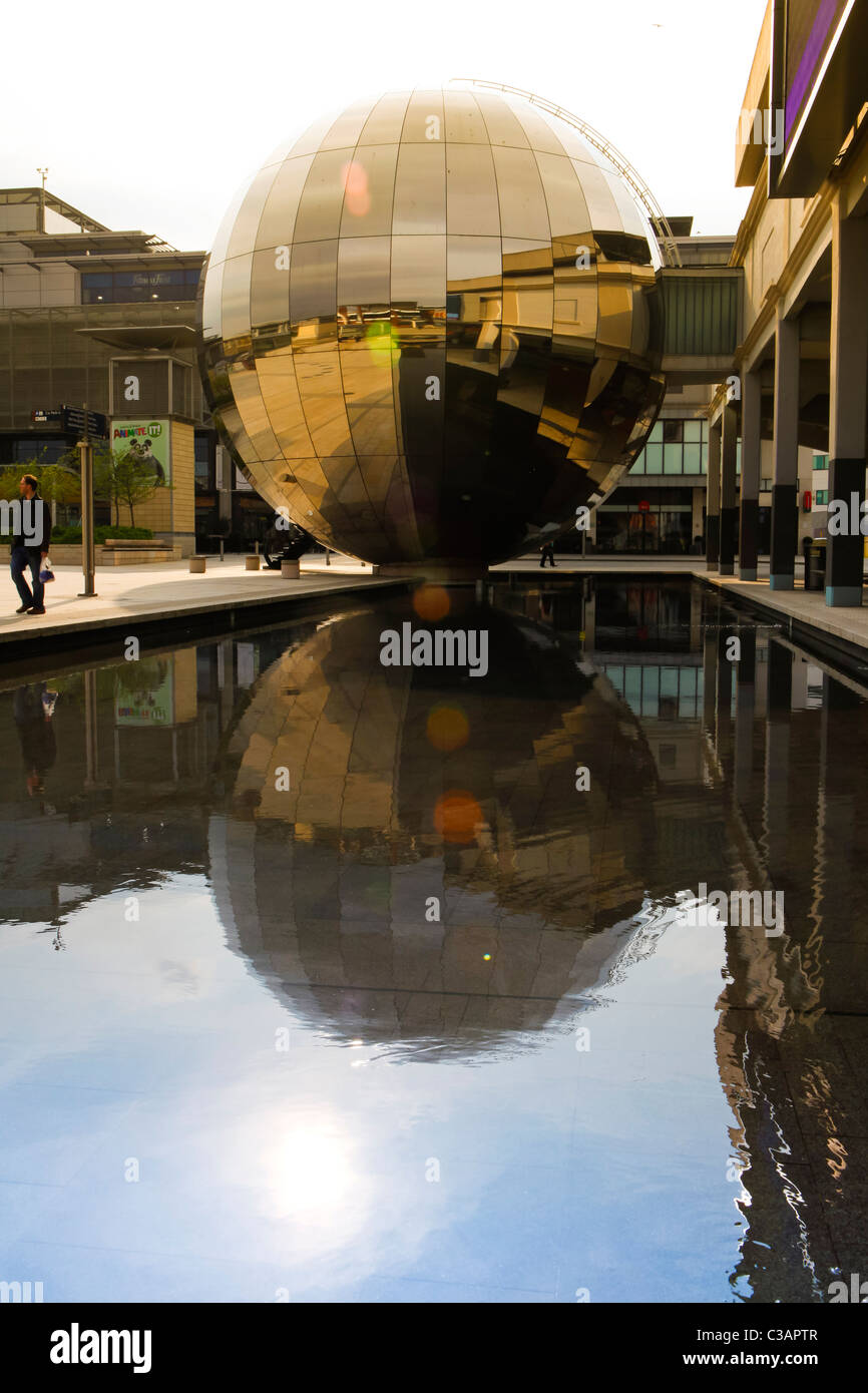 The reflective mirror sphere in Millennium Square, Bristol. - Stock Image