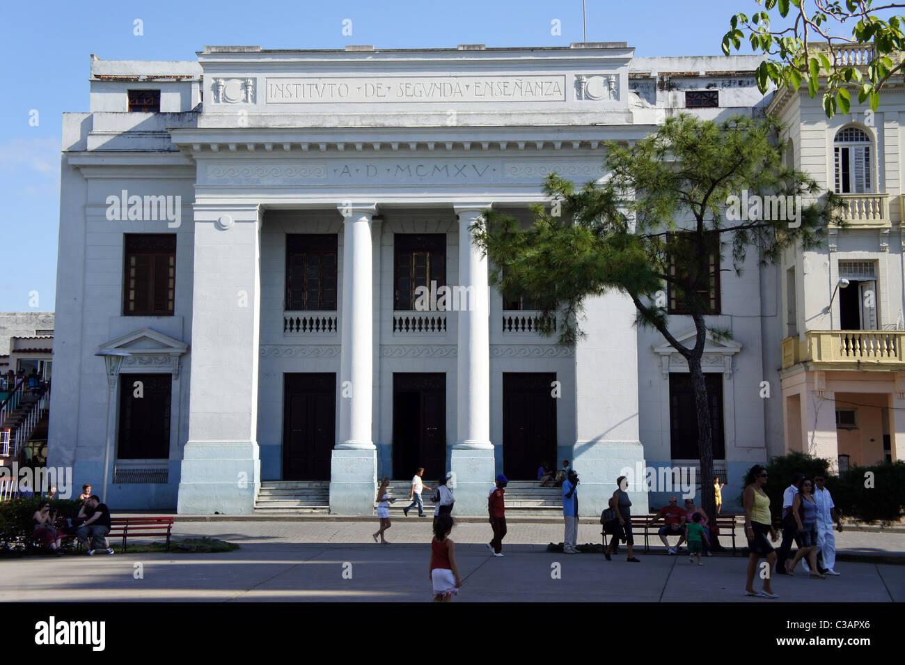 Institute of Secondary Education building, Parque Vidal, Santa Clara, Cuba. Now a cultural centre. - Stock Image