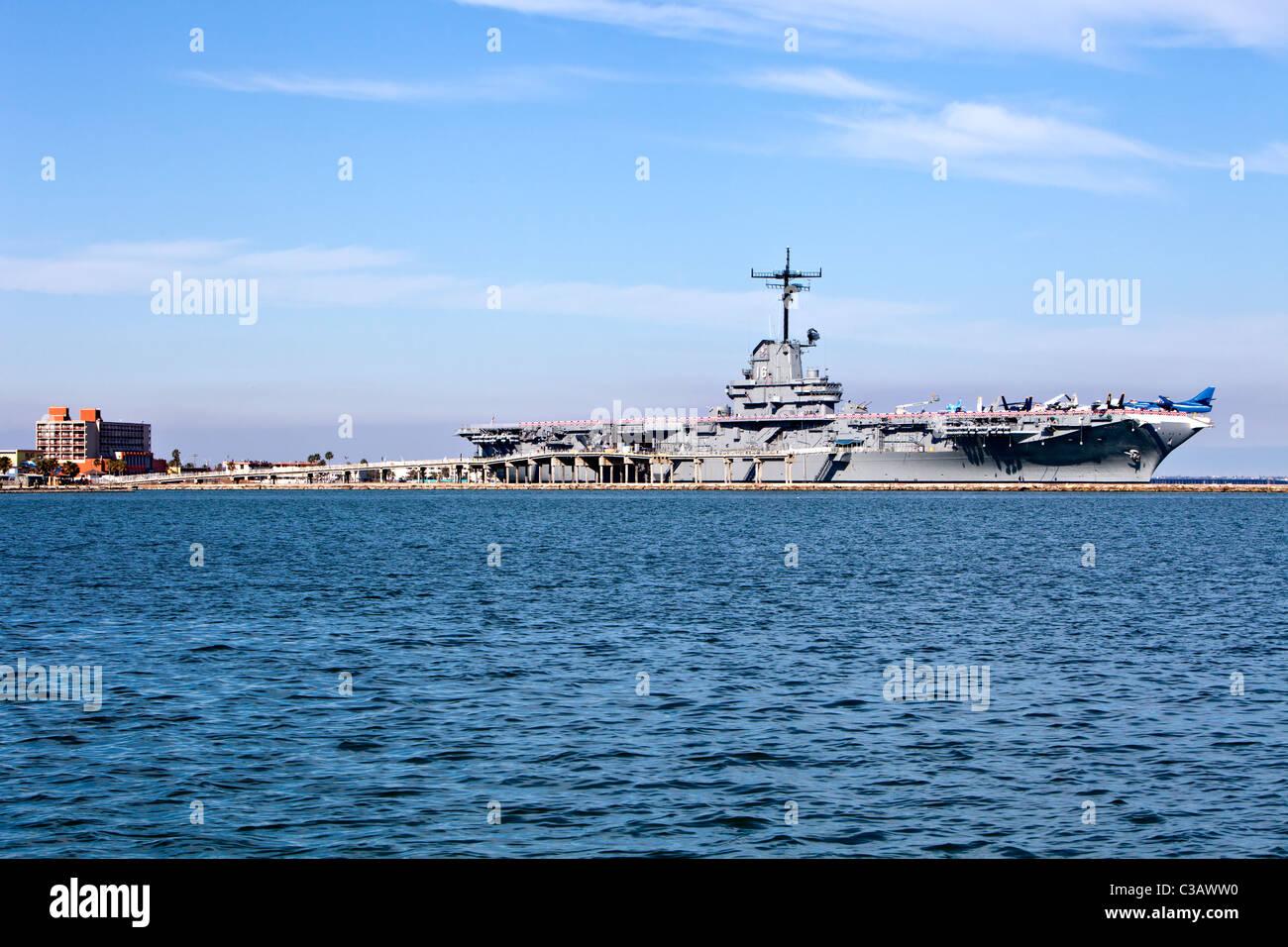 USS Lexington CV16 WW2 Aircraft Carrier, - Stock Image