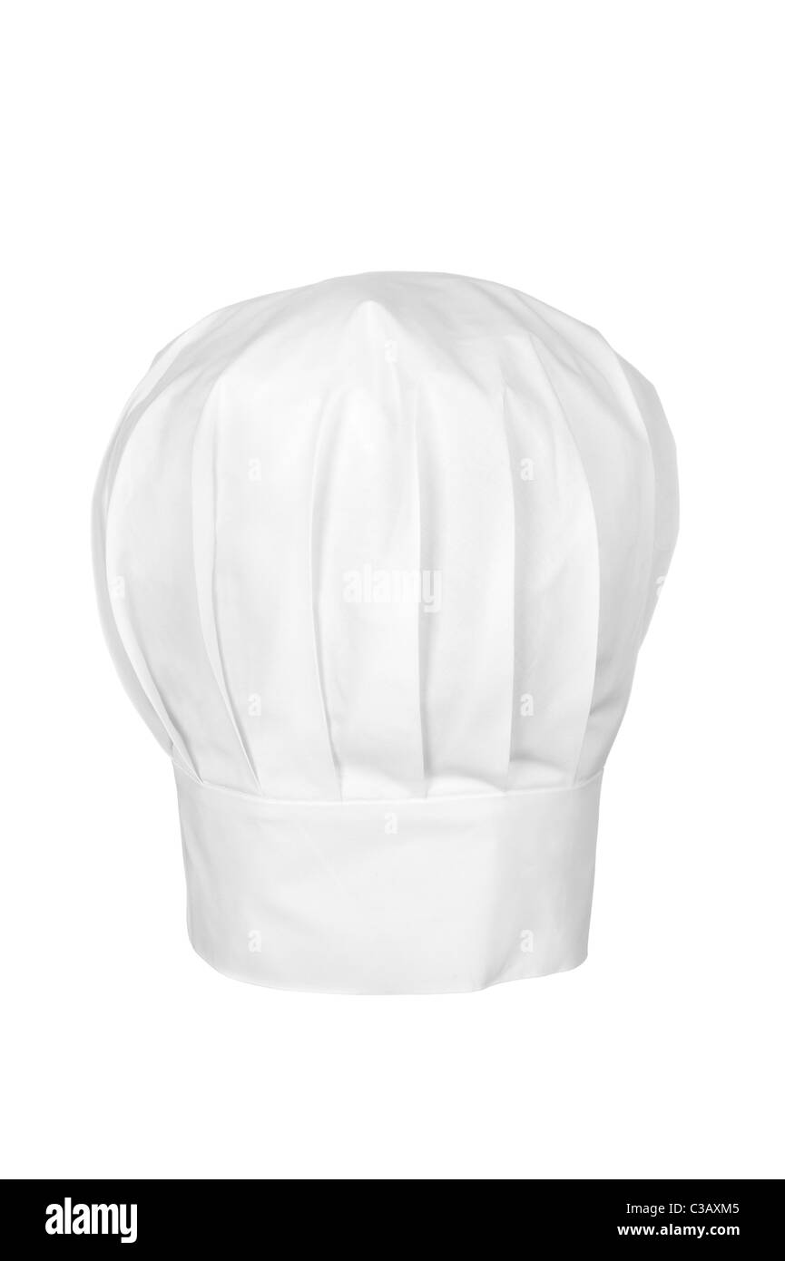 A chef's hat isolated on white. Chefs wear the hat as a symbol of status and for cleanliness and sanitary reasons. - Stock Image
