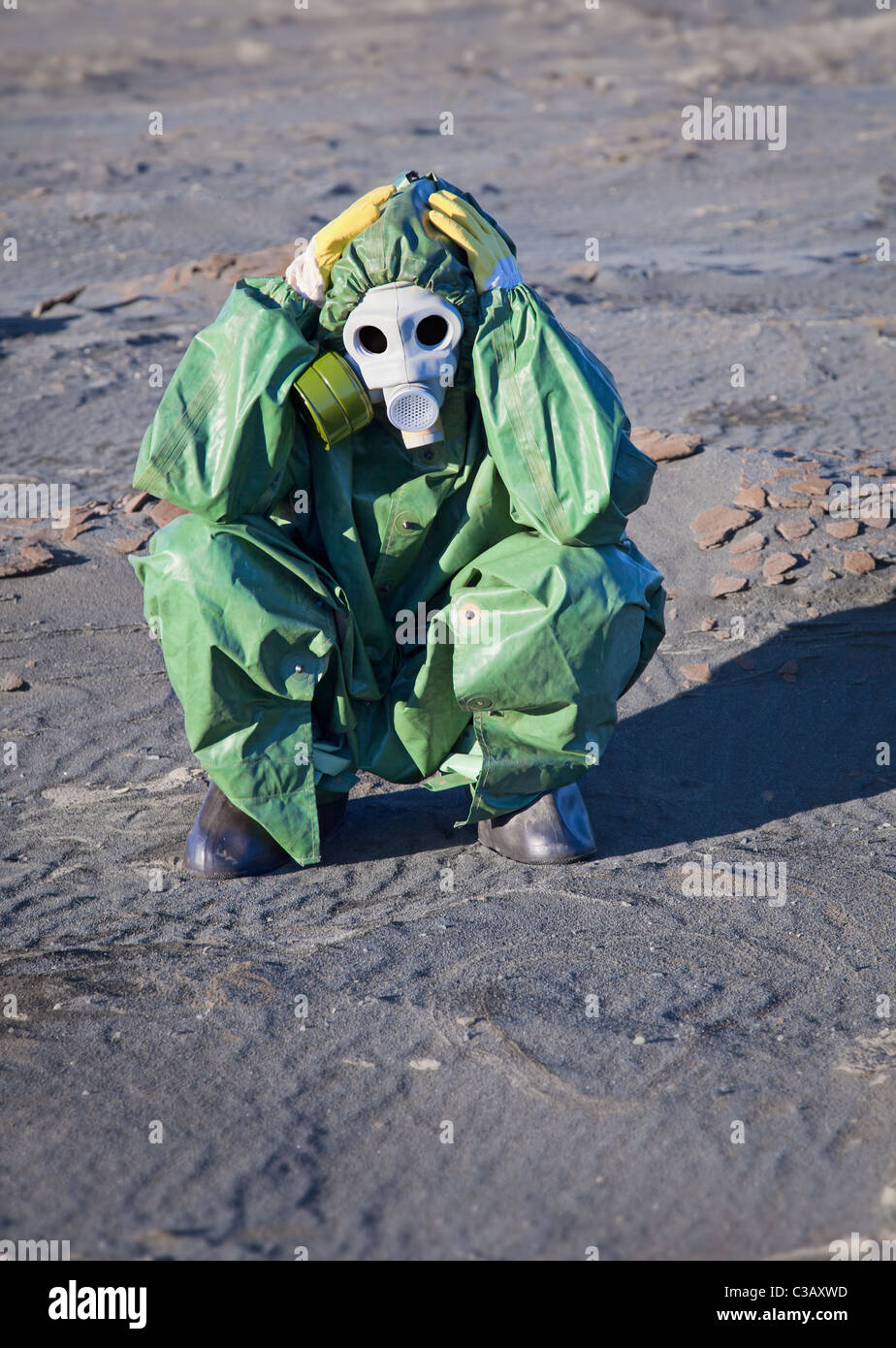 Humanity is on the brink of ecological disaster - sad scientist - Stock Image