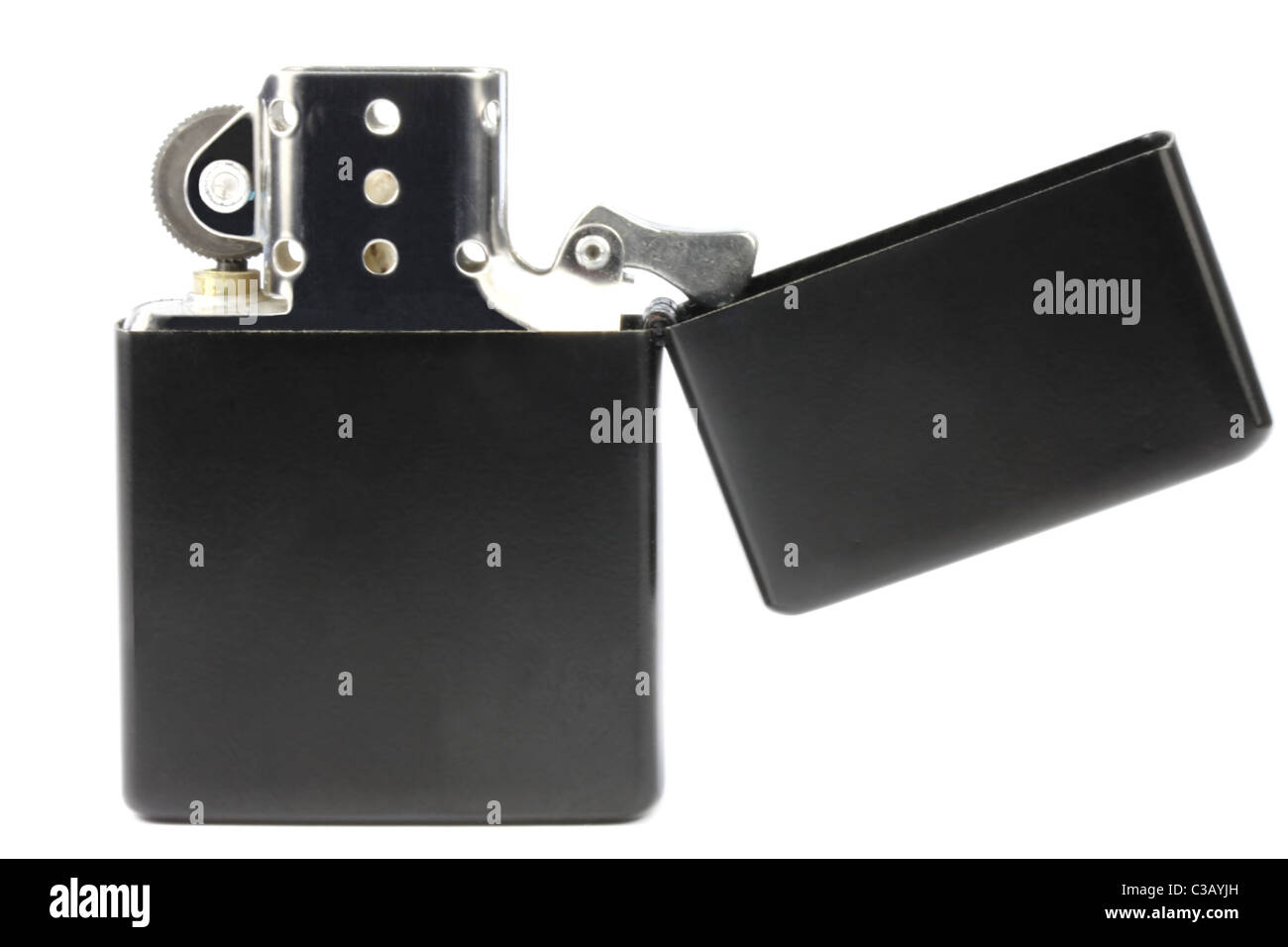 Black petrol Zippo type lighter isolated on a white background - Stock Image