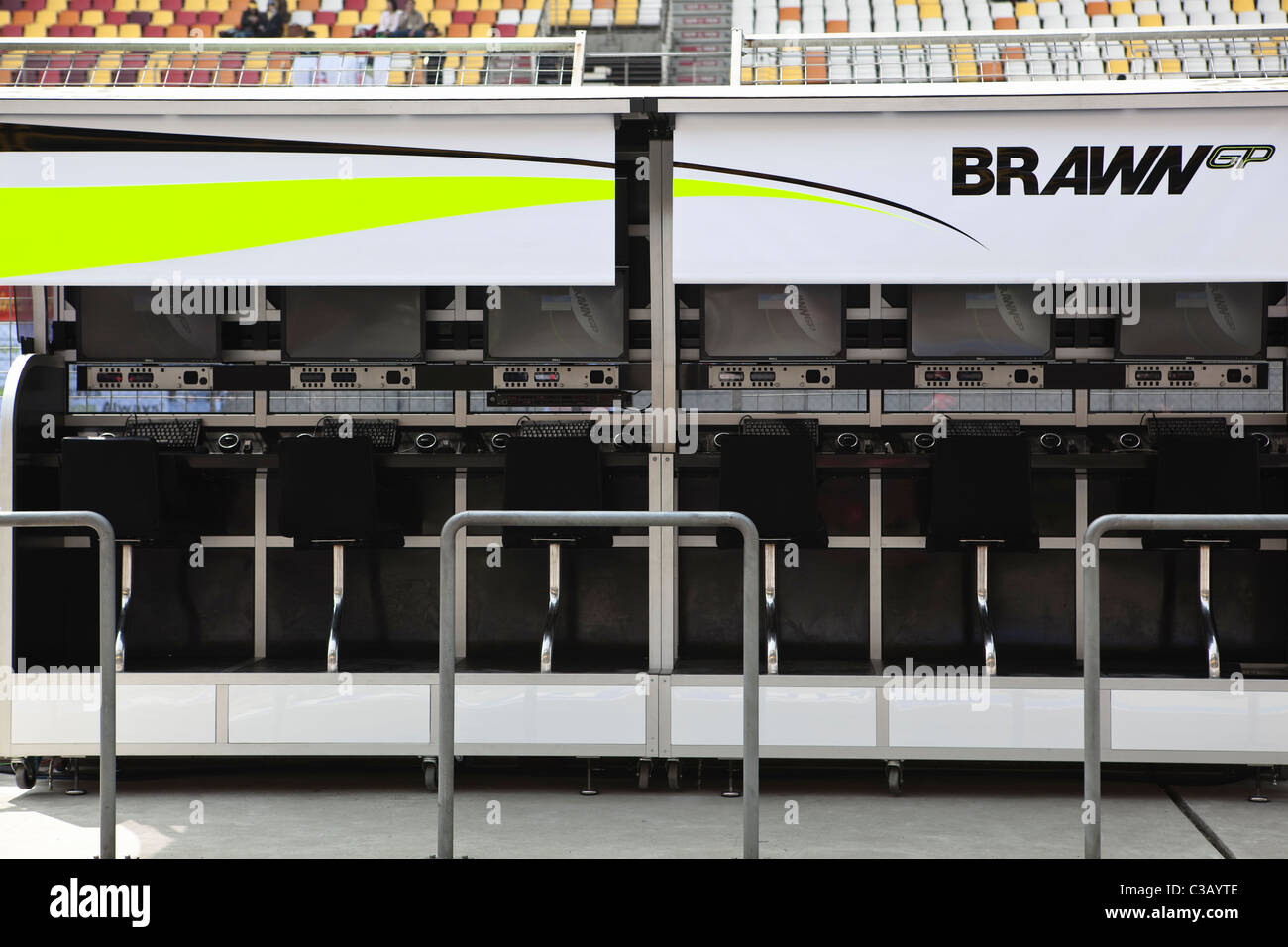 shanghai: formula one brawn gp booth - Stock Image