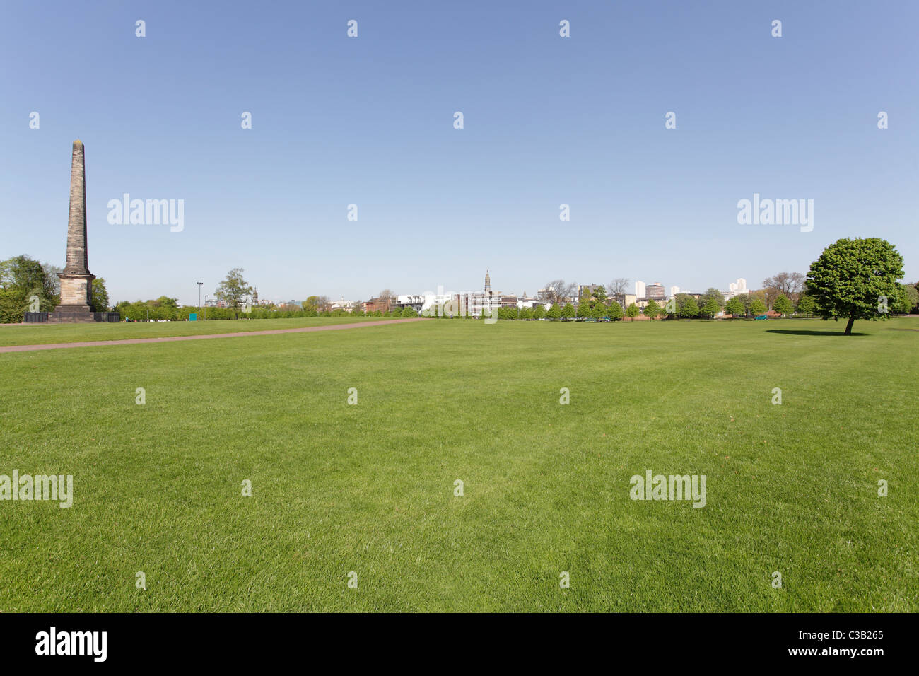 Wide open space of Glasgow Green Public Park in Glasgow's East End Scotland UK - Stock Image