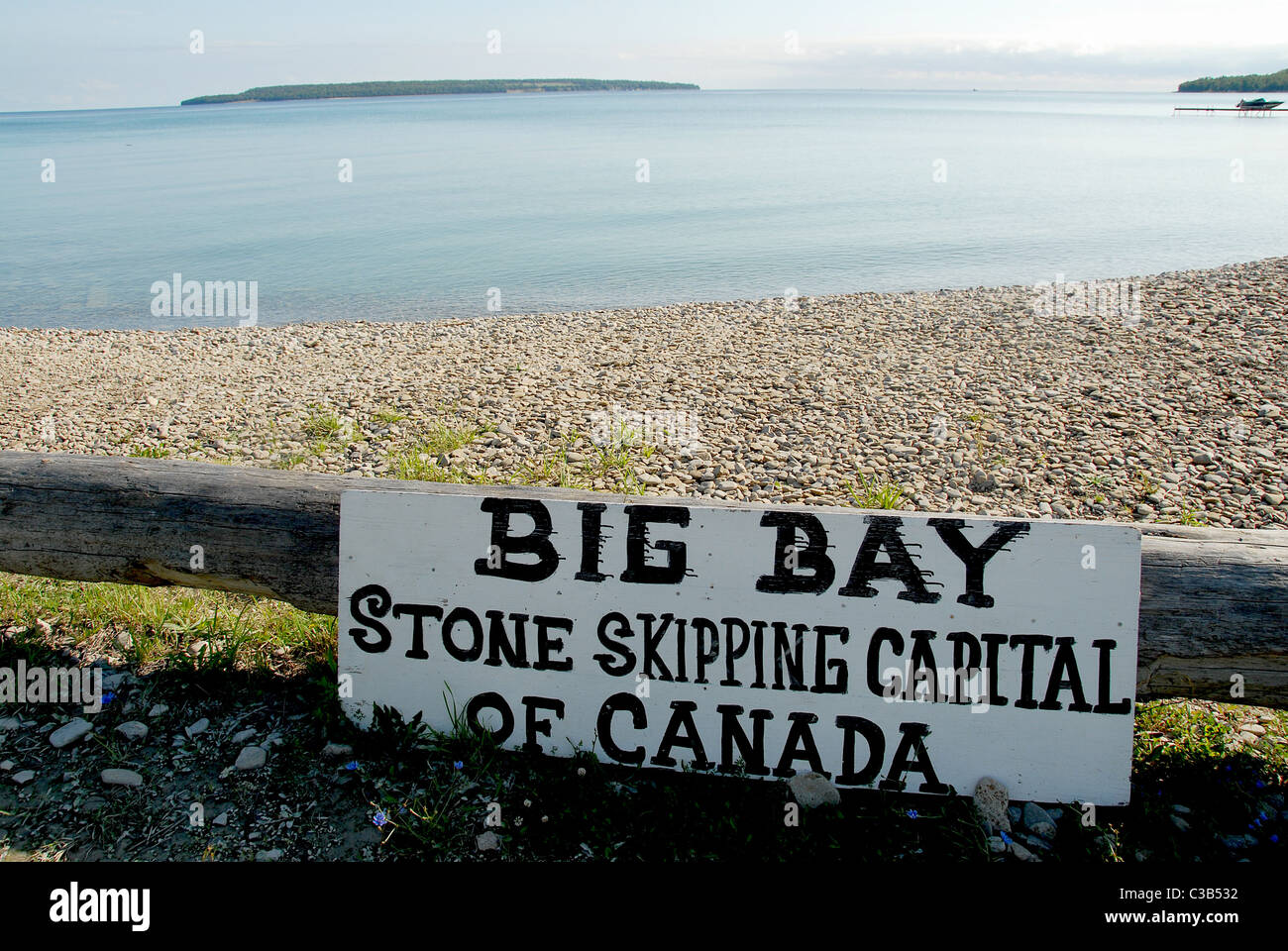 Many stones make Big Bay, at the Owen Sound of Georgian Bay in Ontario the stone skipping capital of Canada Stock Photo
