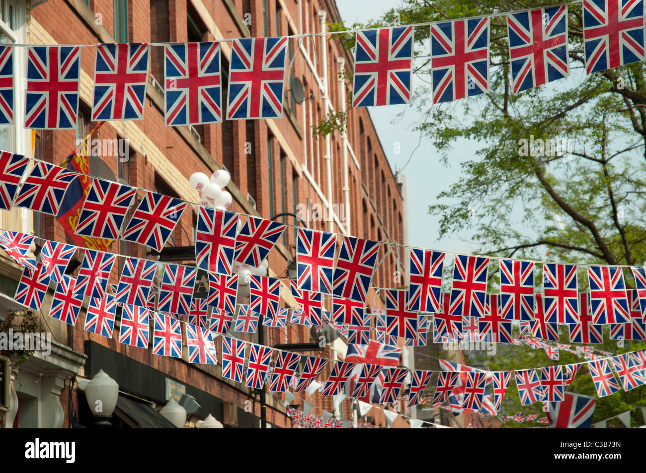 Bunting along Canal Street in the Gay Village district of Manchester, in celebration of the wedding of Kate and - Stock Image