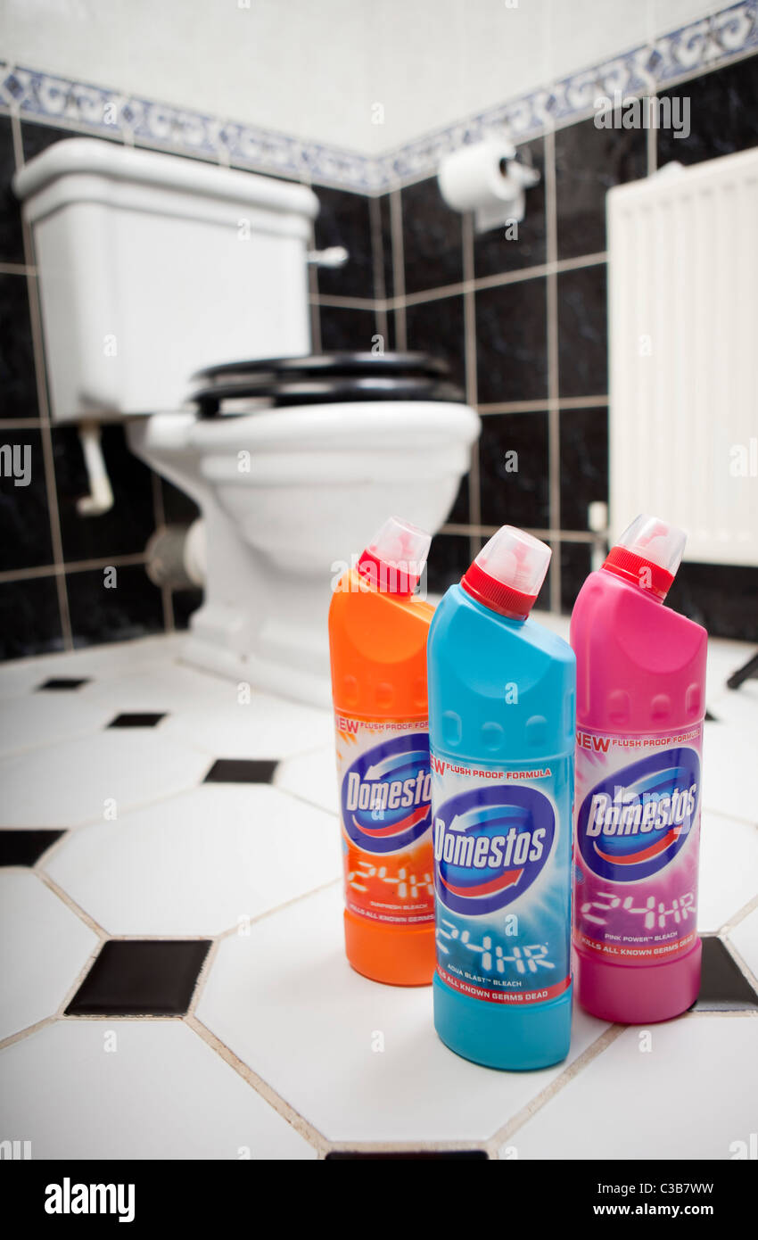 Illustrative image of Domestos bleach bottles - Stock Image