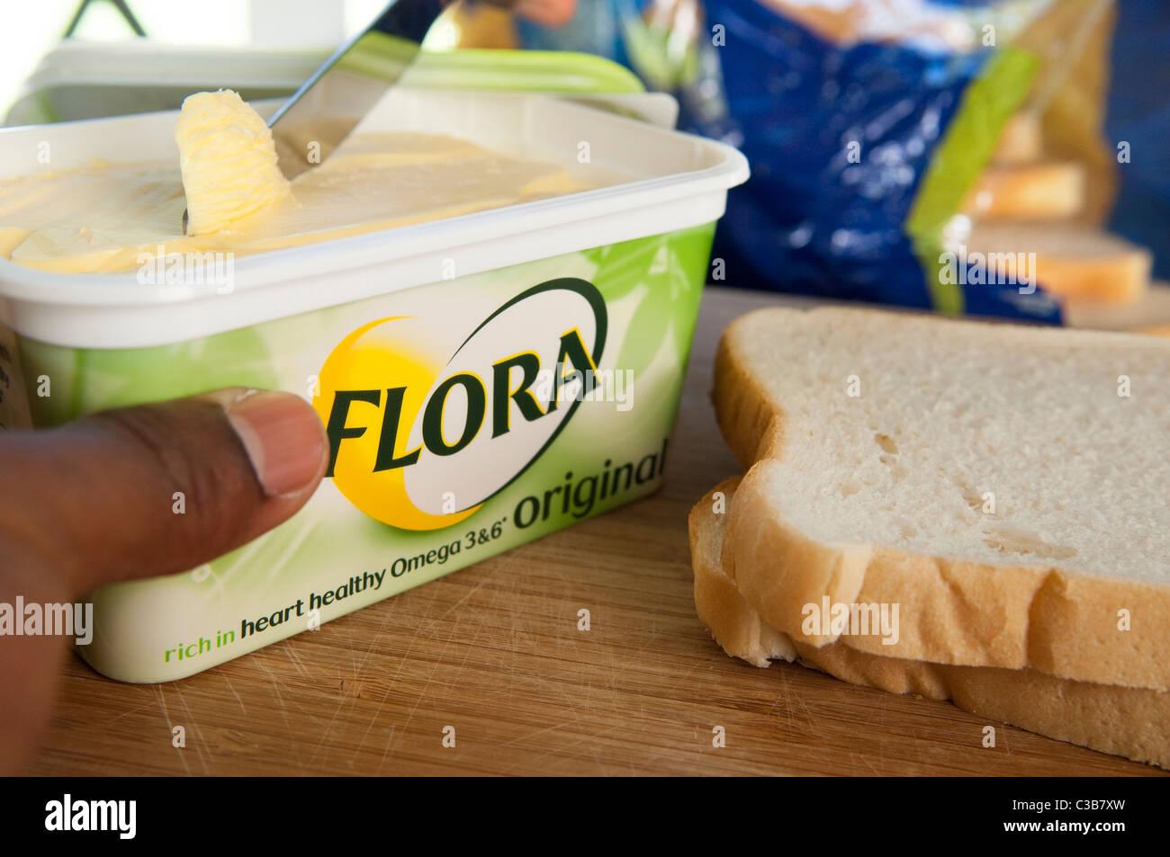 Illustrative image of Flora Original, a Unilever food product. - Stock Image