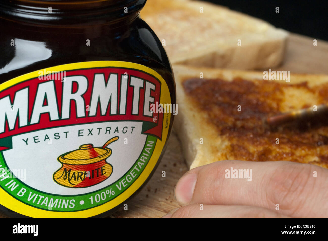 Illustrative image of Marmite, a Unilever food product. Stock Photo