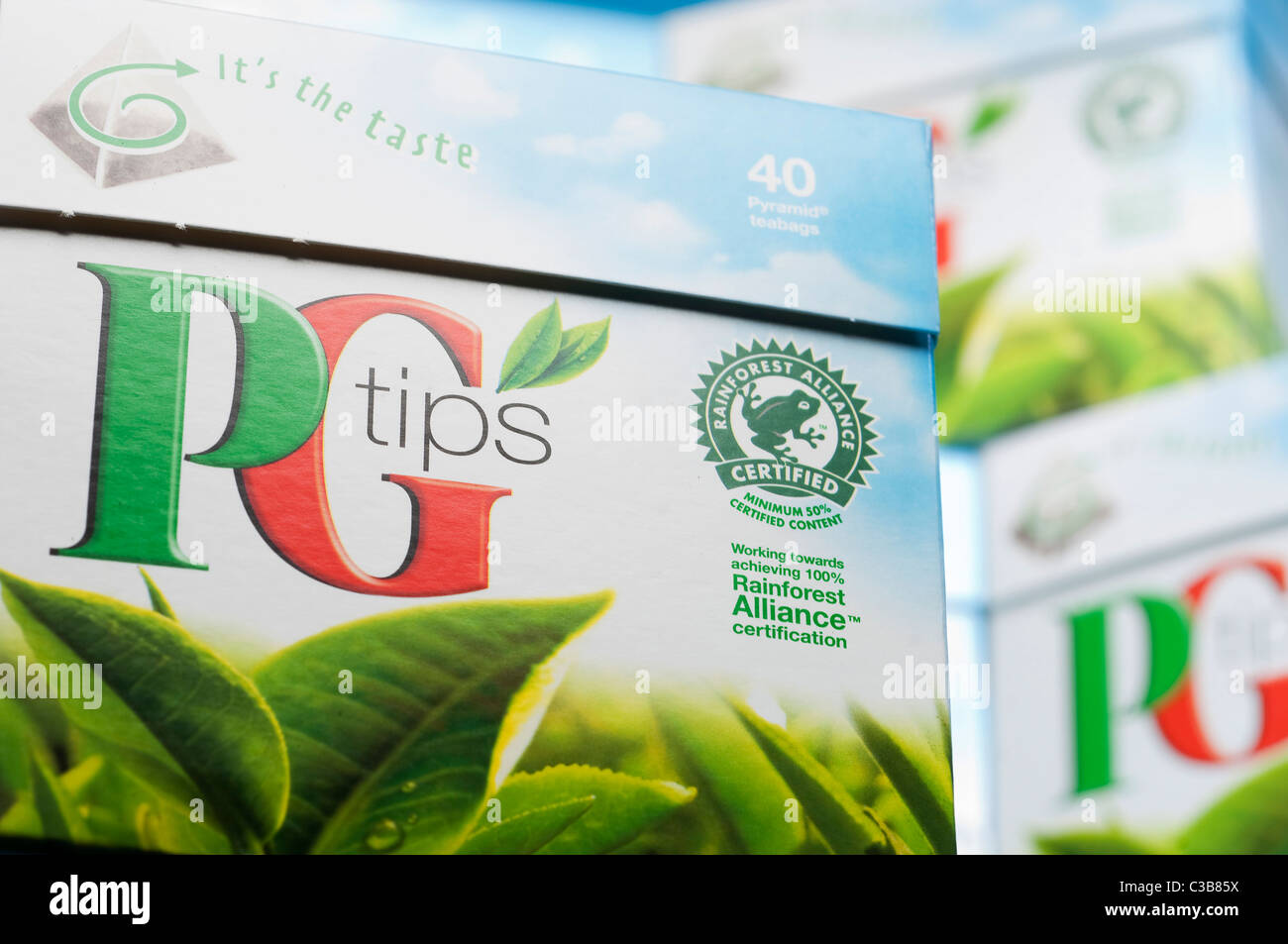 Illustrative image of PG Tips pyramid tea bags, a Unilever food product. Stock Photo