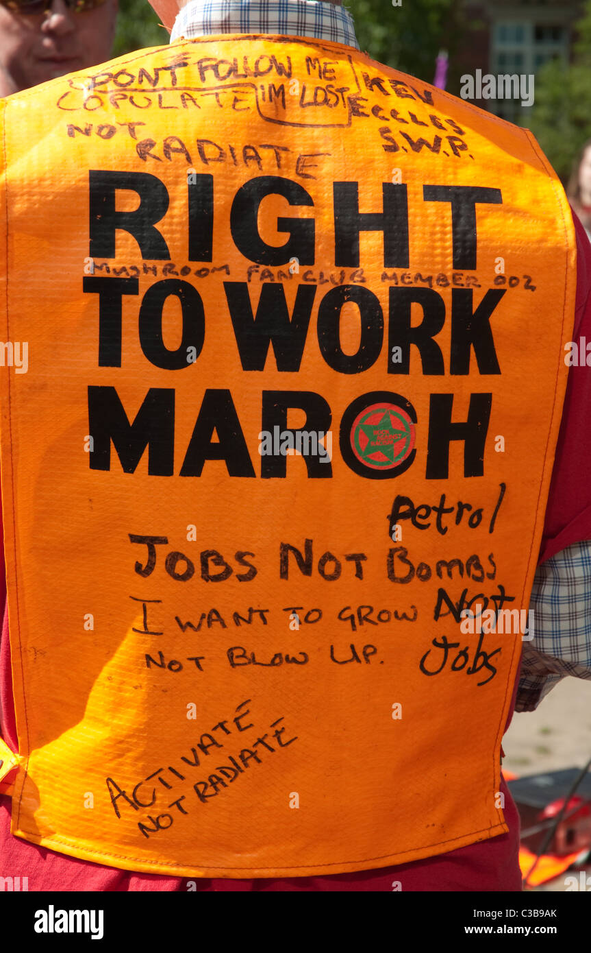 May Day Rally,Manchester 2011.Protesters joined the the rally to voice their concerns at job losses in Manchester. - Stock Image