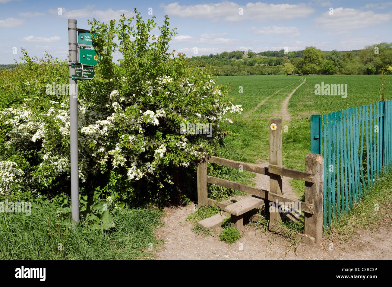 Footpath Wooden Country Stile Stock Photos Footpath Wooden Country
