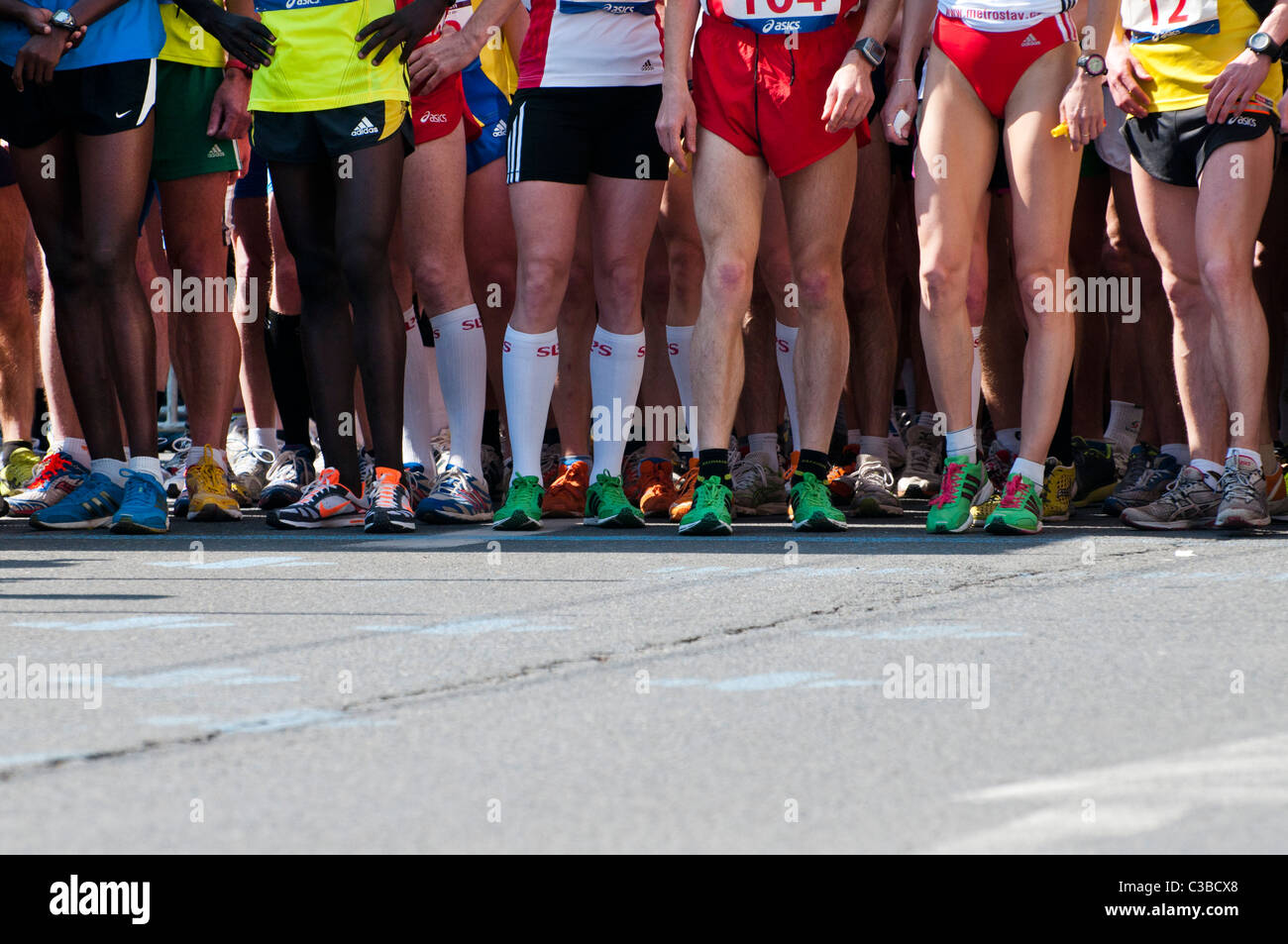 marathon athletes at the start - Stock Image